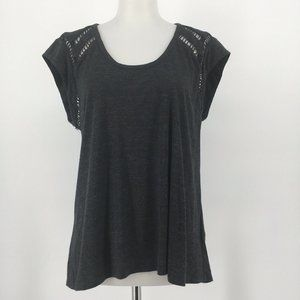 Rebecca Taylor Top Cap Sleeve Solid Gray Knit